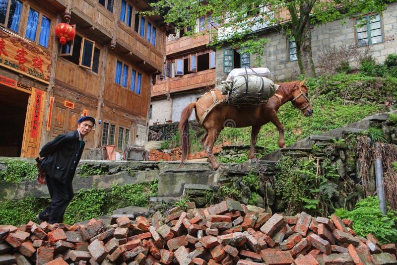 Den sadlade hästen klättrar trappa som följs av den äldre bonden Asian. arkivfoto