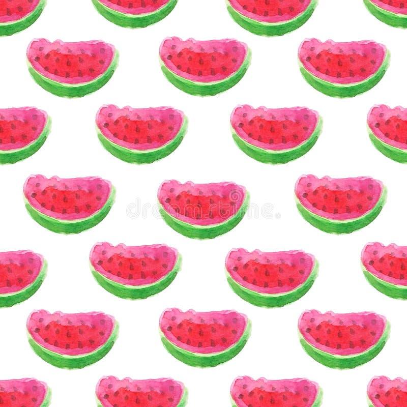 Den saftiga vattenmelon skivar den sömlösa vektormodellen för vattenfärgen vektor illustrationer