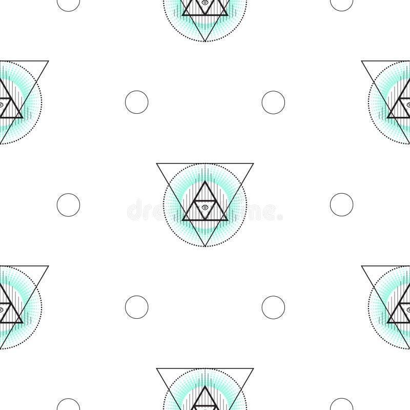 Den sakrala geometritriangeln formar den sömlösa vektormodellen stock illustrationer