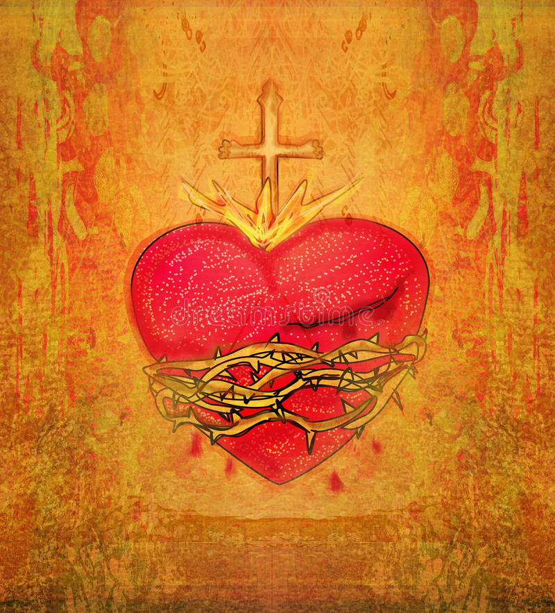 Den sakrala hjärtan av Jesus vektor illustrationer