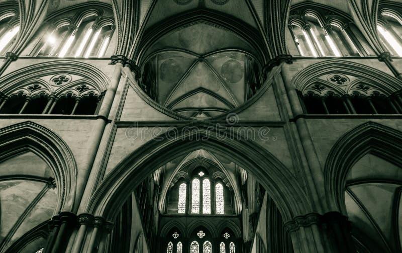 Den Salisbury domkyrkan välva sig i kor B arkivbild