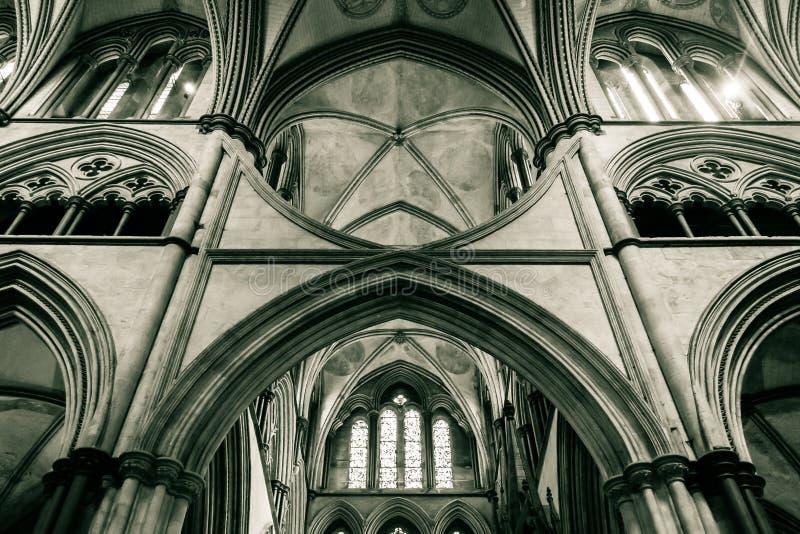 Den Salisbury domkyrkan välva sig i kor D arkivfoto