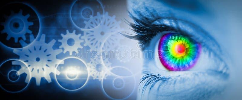 Den sammansatta bilden av det pyschedelic ögat på blått vänder mot royaltyfri fotografi