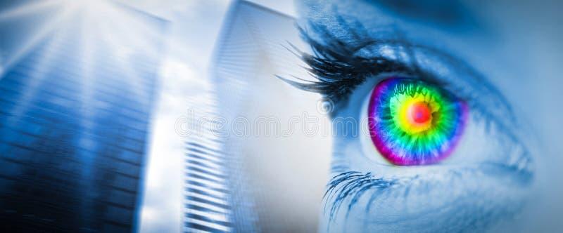 Den sammansatta bilden av det pyschedelic ögat på blått vänder mot royaltyfri bild