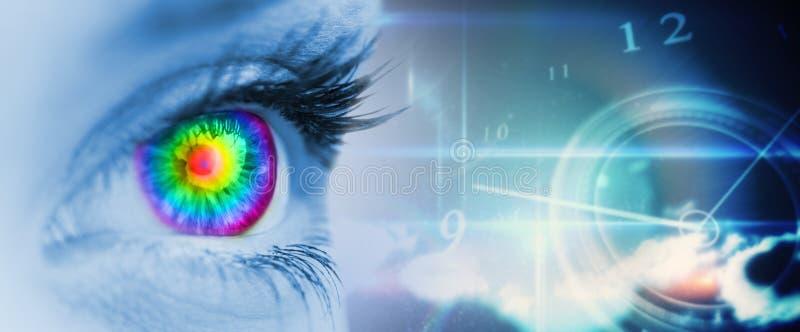 Den sammansatta bilden av det pyschedelic ögat på blått vänder mot royaltyfria bilder