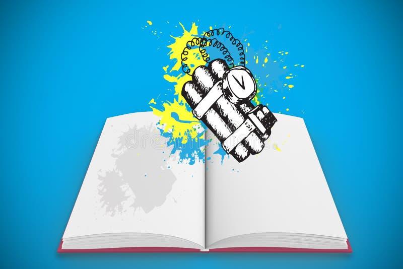 Den sammansatta bilden av dynamit på målarfärg plaskar på den öppna boken vektor illustrationer