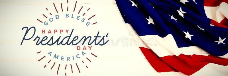 Den sammansatta bilden av guden välsignar Amerika Lycklig presidentdag typografi arkivfoto