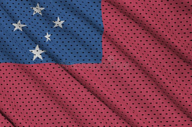 Den Samoa flaggan skrivev ut på ett tyg för ingrepp för polyesternylonsportswear w arkivbilder