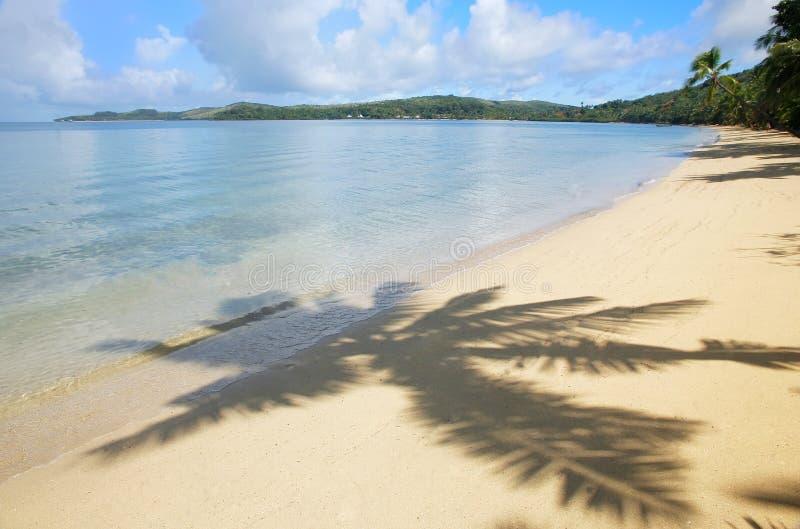 Den sandiga stranden med palmträdet skuggar, Nananu-jag-rommar ön, Fiji arkivbilder