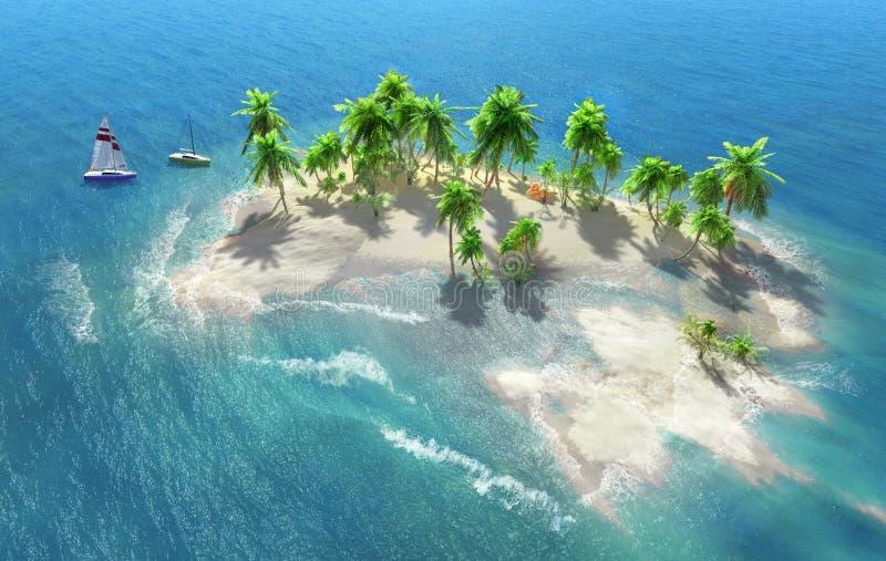 Den sandiga stranden på en tropisk ö med kokosnöten gömma i handflatan royaltyfri fotografi