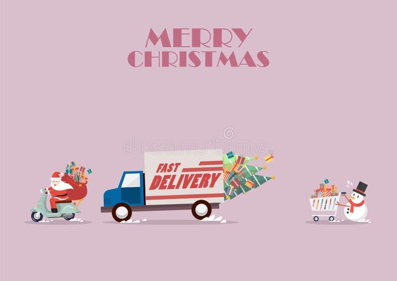 Den Santa Claus ritten en moped som följer med lastbilen, och snögubben skjuter royaltyfri illustrationer