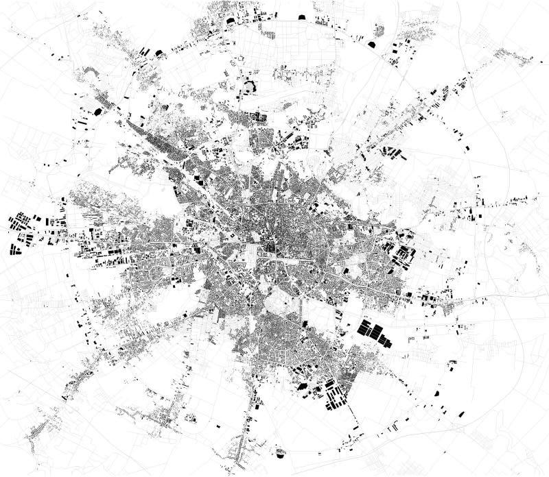 Den satellit- översikten av Bucharest, är det huvudstaden av Rumänien ?versikt av gator och byggnader stock illustrationer