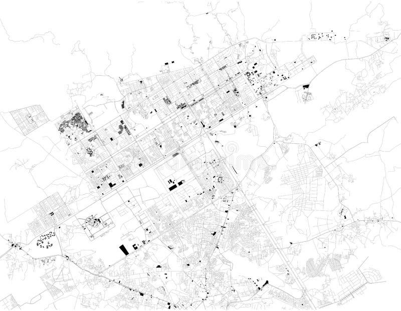 Den satellit- översikten av Islamabad, är det den pakistanska huvudstaden ?versikt av gator och byggnader av stadmitten vektor illustrationer