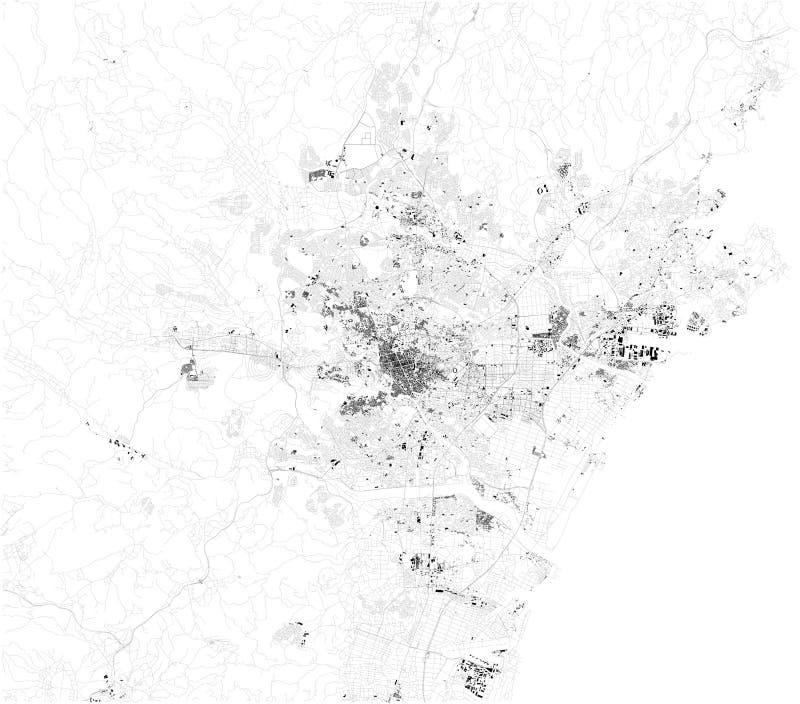 Den satellit- översikten av Sendai, är det huvudstaden av den Miyagi prefekturen, Japan ?versikt av gator och byggnader av stadmi royaltyfri illustrationer