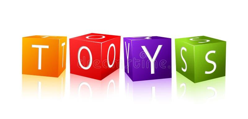 den satta ihop kubbokstaven toys ord stock illustrationer