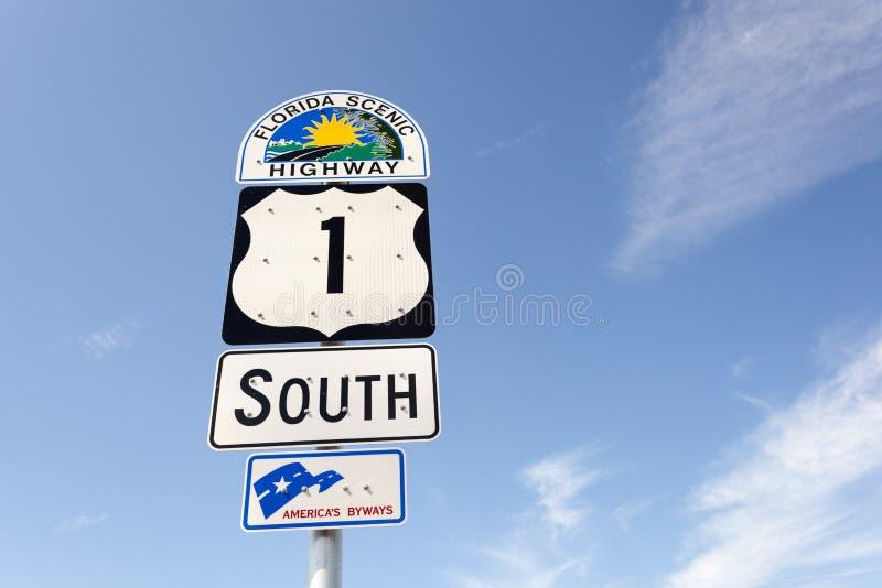 Den sceniska huvudvägen undertecknar in Florida arkivbilder