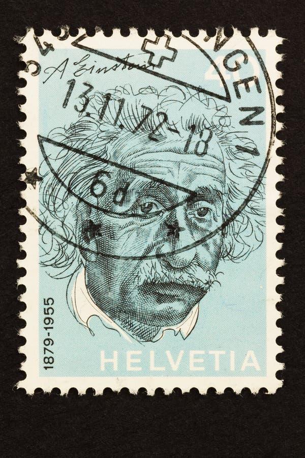 Den Schweiz stämpeln av Einstein utfärdade in1972 royaltyfria bilder