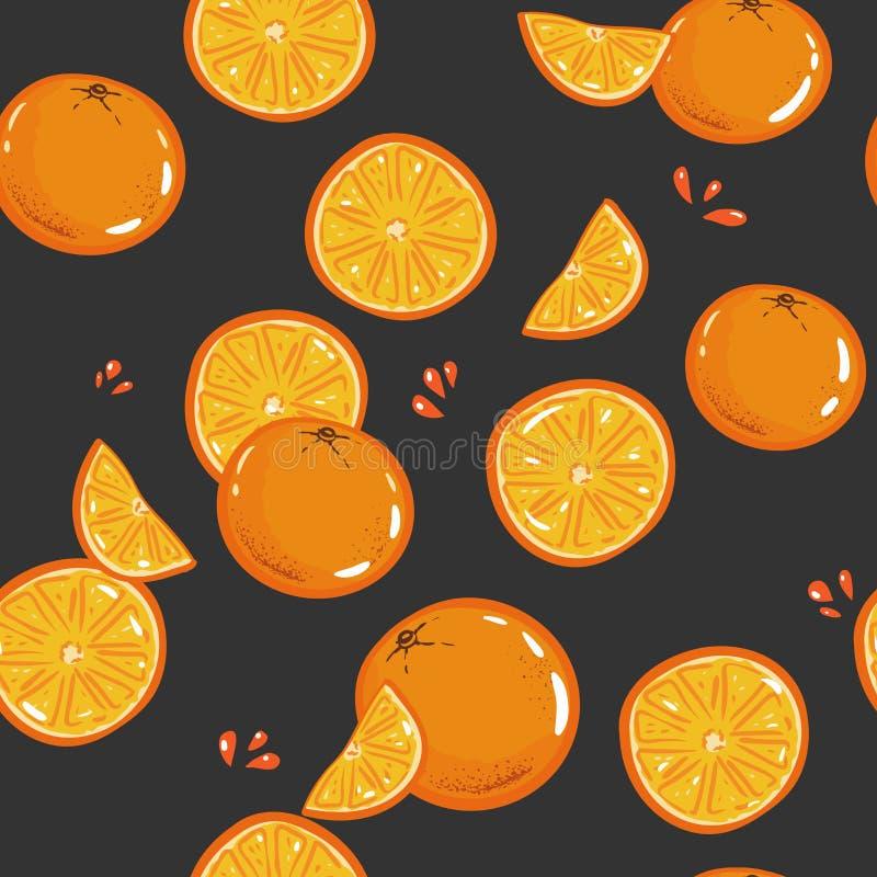 Den Seamless apelsinen mönstrar Tappningvektorillustration Mall för packen, tapet, räkning, textil, tryckdesign Upprepad bakgrund vektor illustrationer