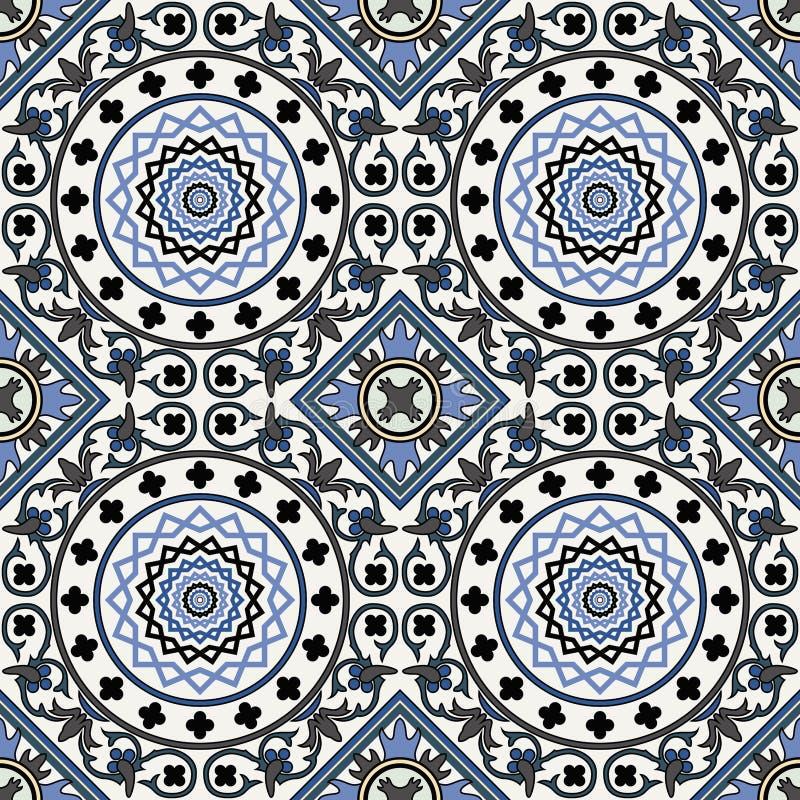 Den seamless arabesquen mönstrar i blått vektor illustrationer