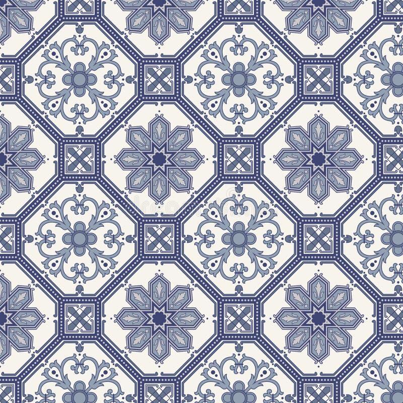 Den seamless arabesquen mönstrar i blått och grå färg vektor illustrationer