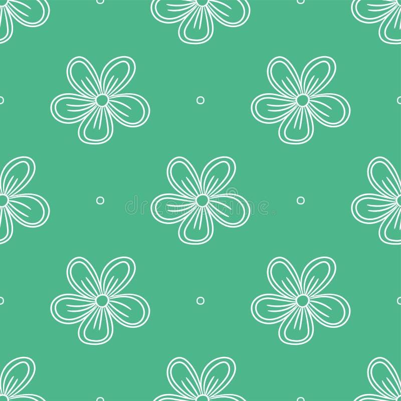 Den seamless blomman mönstrar vektor för snowflakes för bakgrundsfärgmodell seamless Sommar- och vårtryck royaltyfri illustrationer