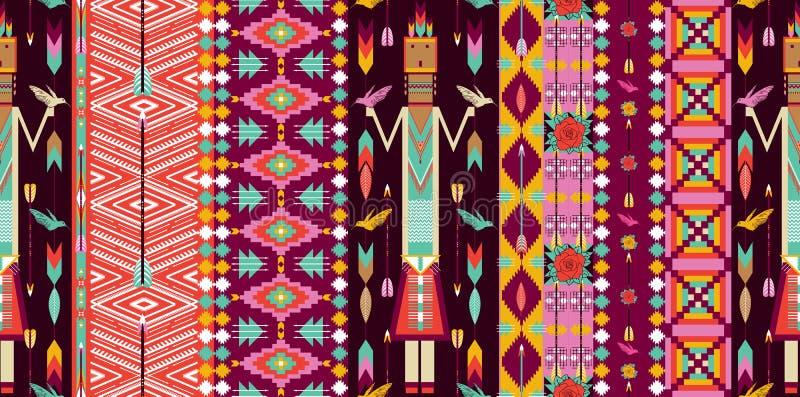Den Seamless färgrika aztecen mönstrar med fåglar vektor illustrationer