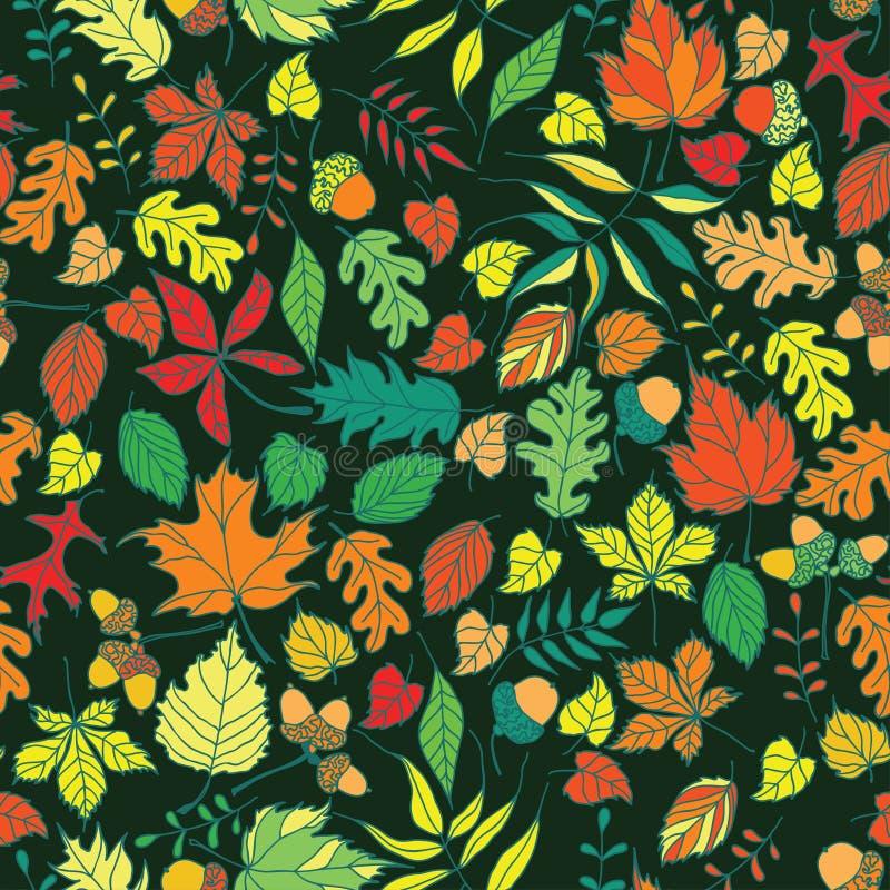 Den Seamless hösten lämnar vektorbakgrund arkivbild