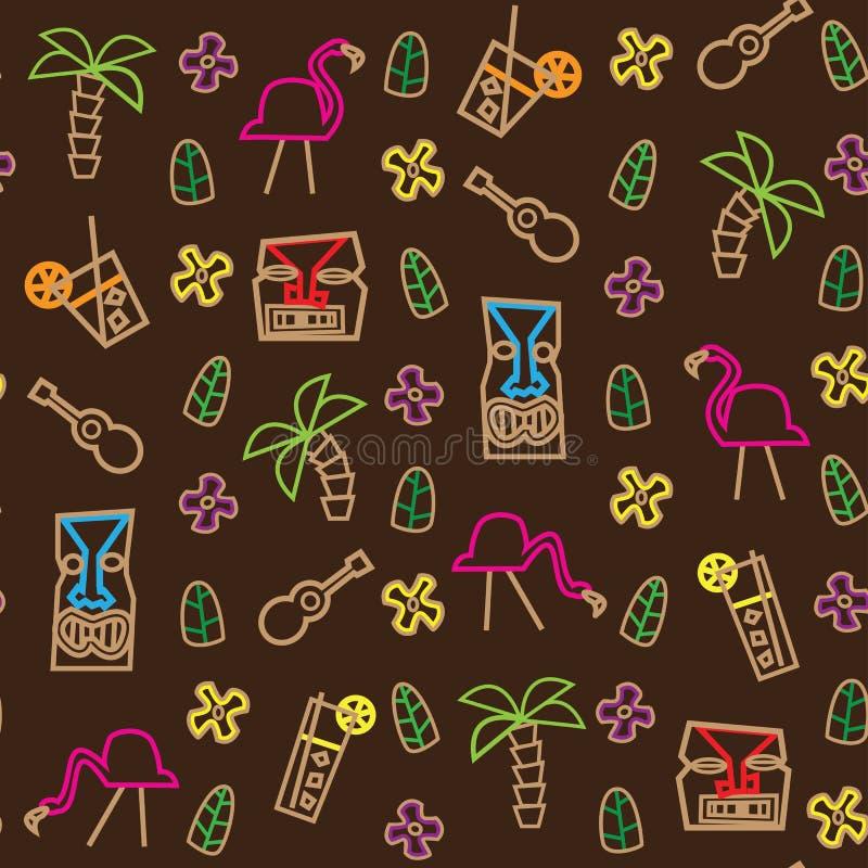 Den Seamless tikien Hawaii mönstrar stock illustrationer