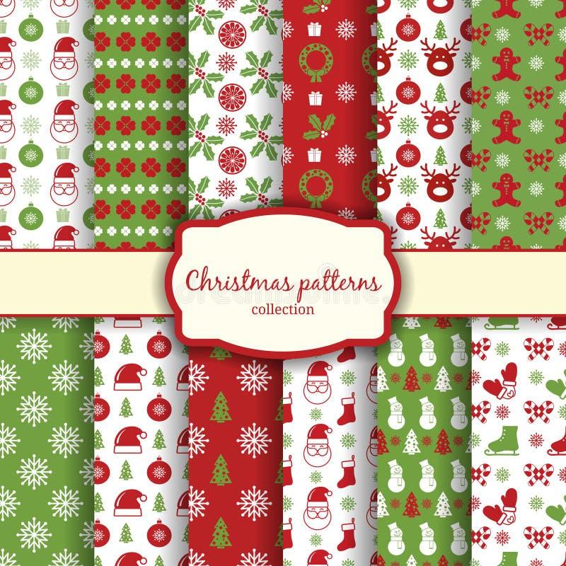 Den Seamless julen mönstrar uppsättningen royaltyfri illustrationer
