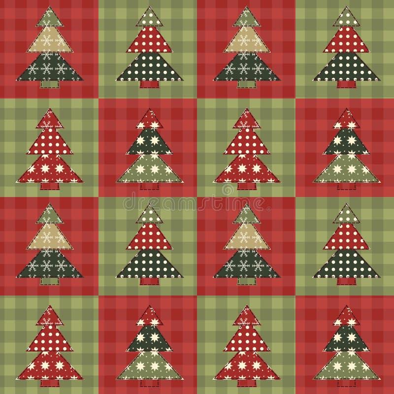 Den seamless julgranen mönstrar 3 vektor illustrationer