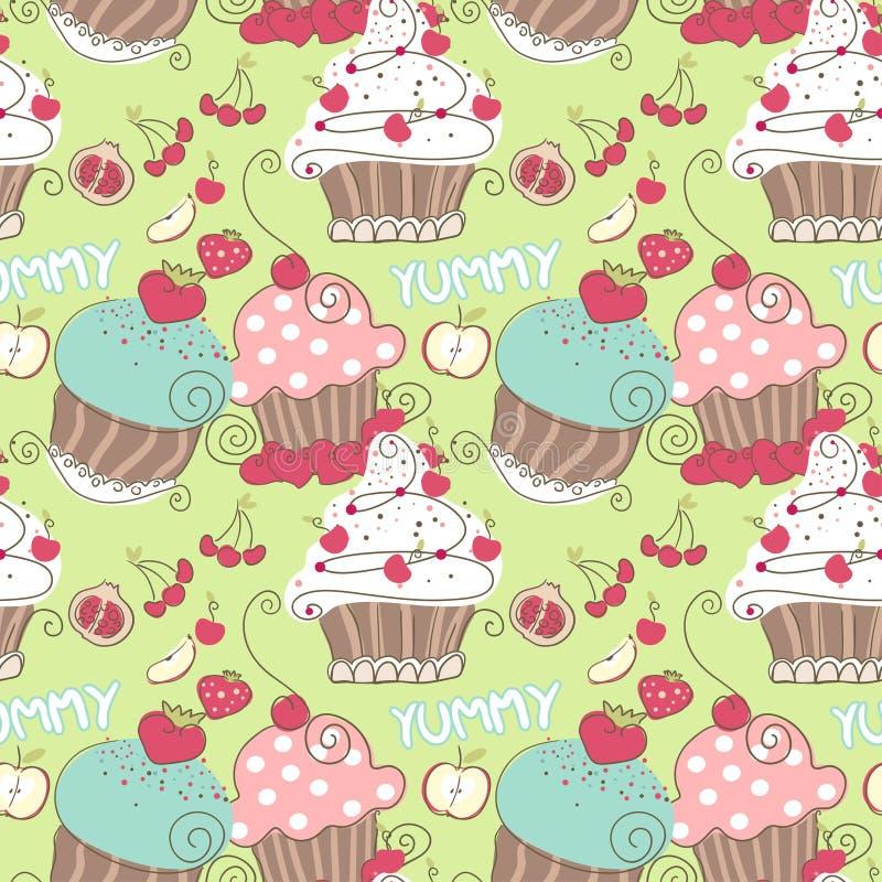 Den seamless muffinen mönstrar stock illustrationer