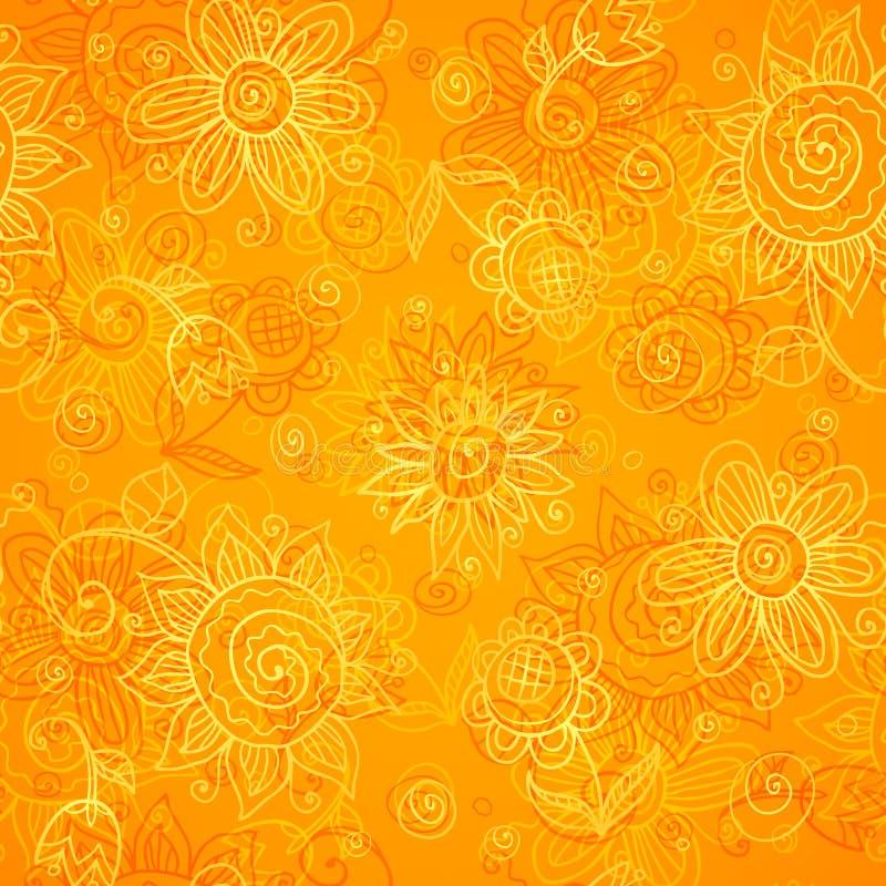 Den seamless orange blom- ljusa vektorn mönstrar stock illustrationer