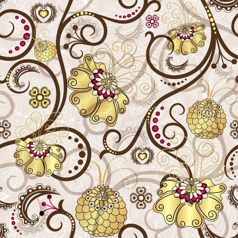Den seamless påsken mönstrar med guld- blommor royaltyfri illustrationer