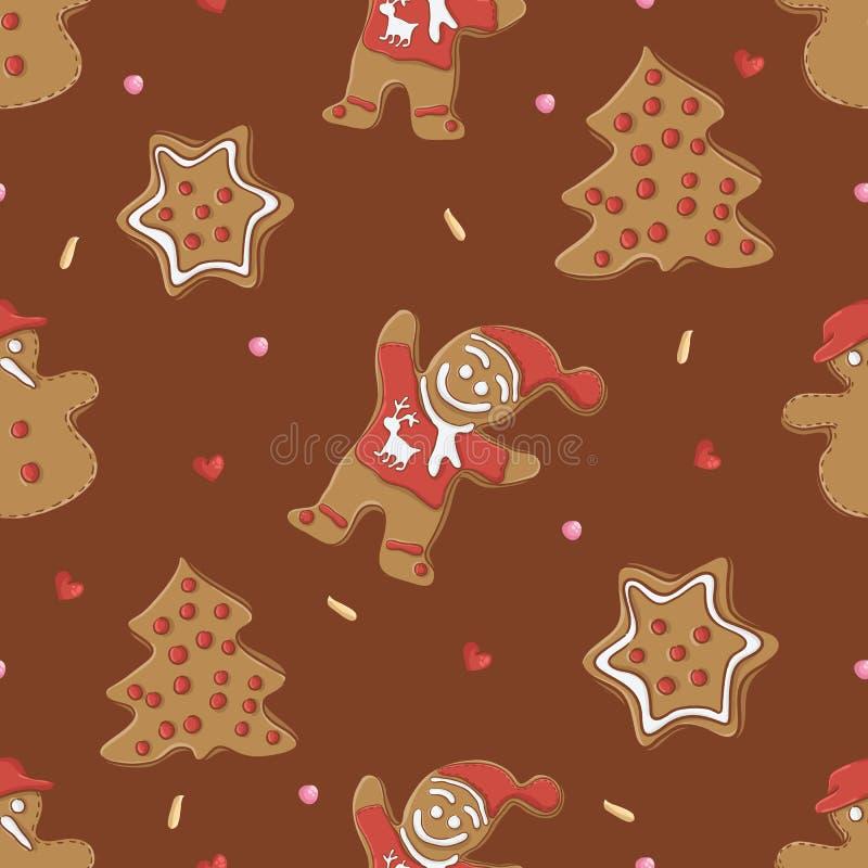 Den seamless pepparkakan mönstrar för jul royaltyfri illustrationer