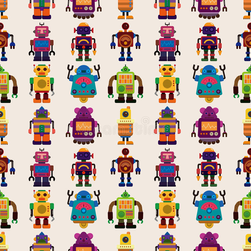 Den Seamless roboten mönstrar royaltyfri illustrationer
