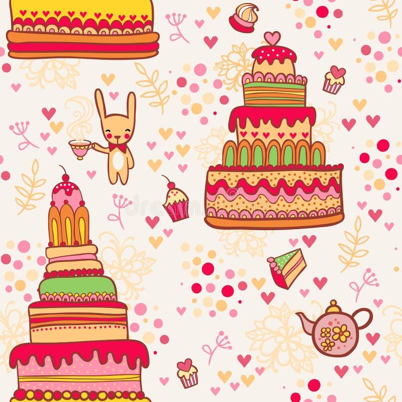 Den Seamless tårtan mönstrar med kanin stock illustrationer
