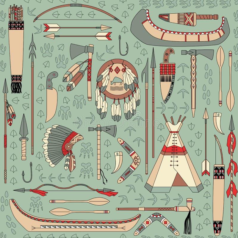 Seamless mönstra med indianattribut vektor illustrationer
