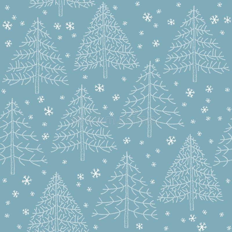 Den Seamless vinterskogen mönstrar stock illustrationer