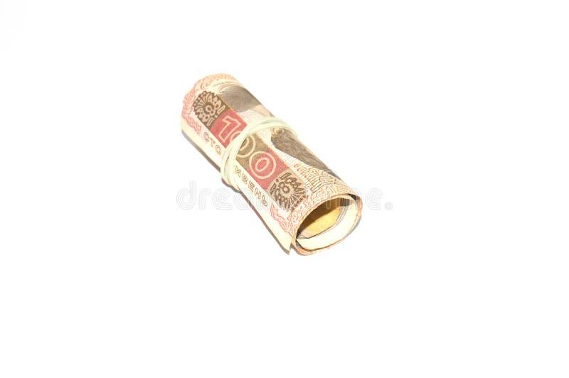 Den sedelUkraina 100 hryvniaen isolerade p? vit bakgrund Ukrainska pengar royaltyfri fotografi