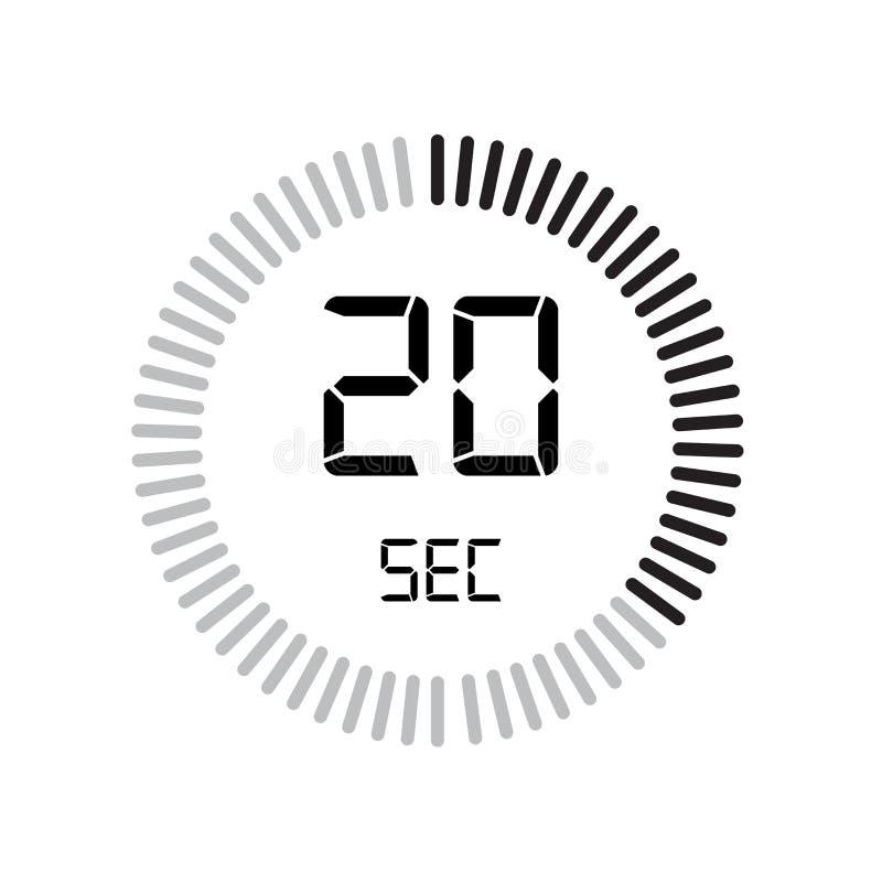 Den 20 sekunder symbolen, digital tidmätare klocka och klocka, tidmätare, coun royaltyfri illustrationer