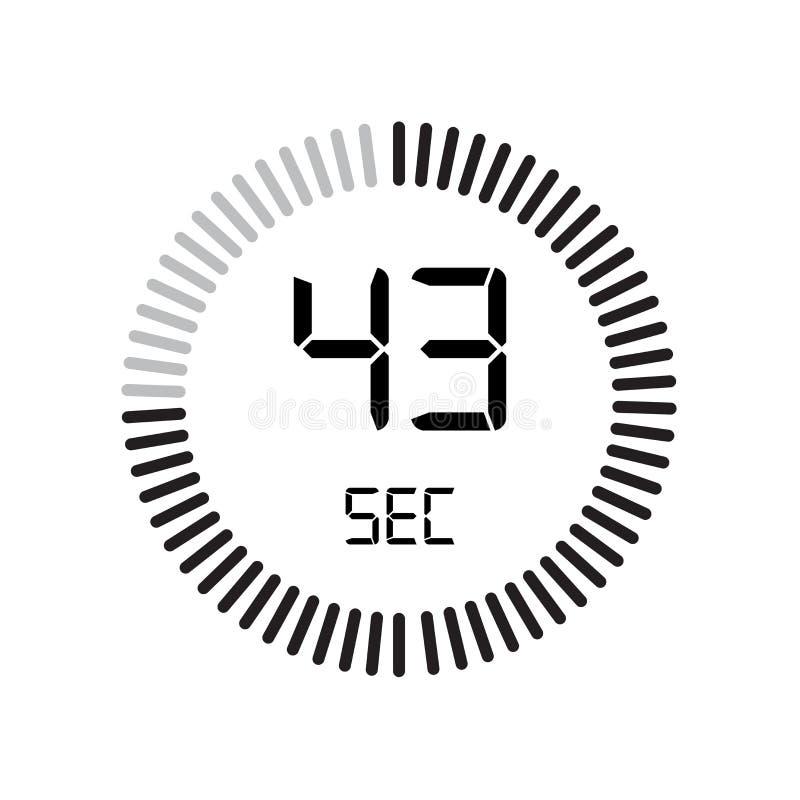 Den 43 sekunder symbolen, digital tidmätare klocka och klocka, tidmätare, coun vektor illustrationer