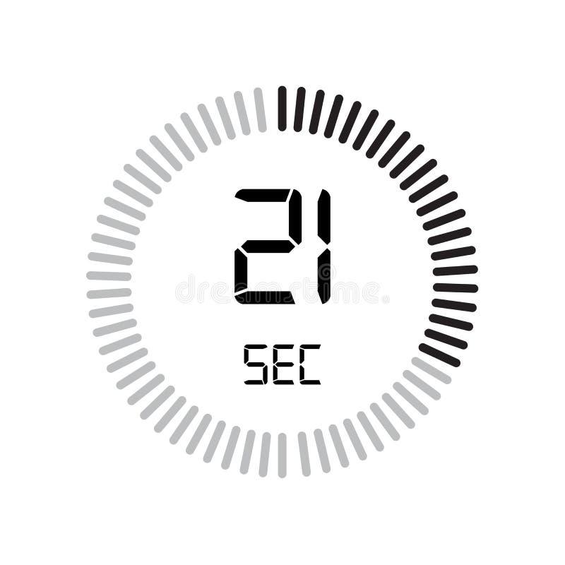 Den 21 sekunder symbolen, digital tidmätare klocka och klocka, tidmätare, coun vektor illustrationer