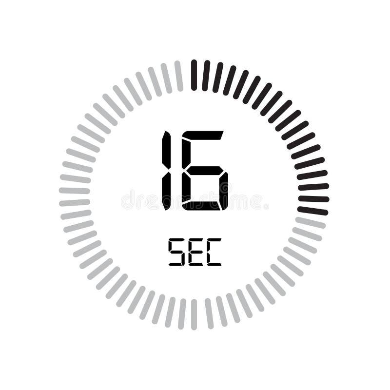 Den 16 sekunder symbolen, digital tidmätare klocka och klocka, tidmätare, coun royaltyfri illustrationer