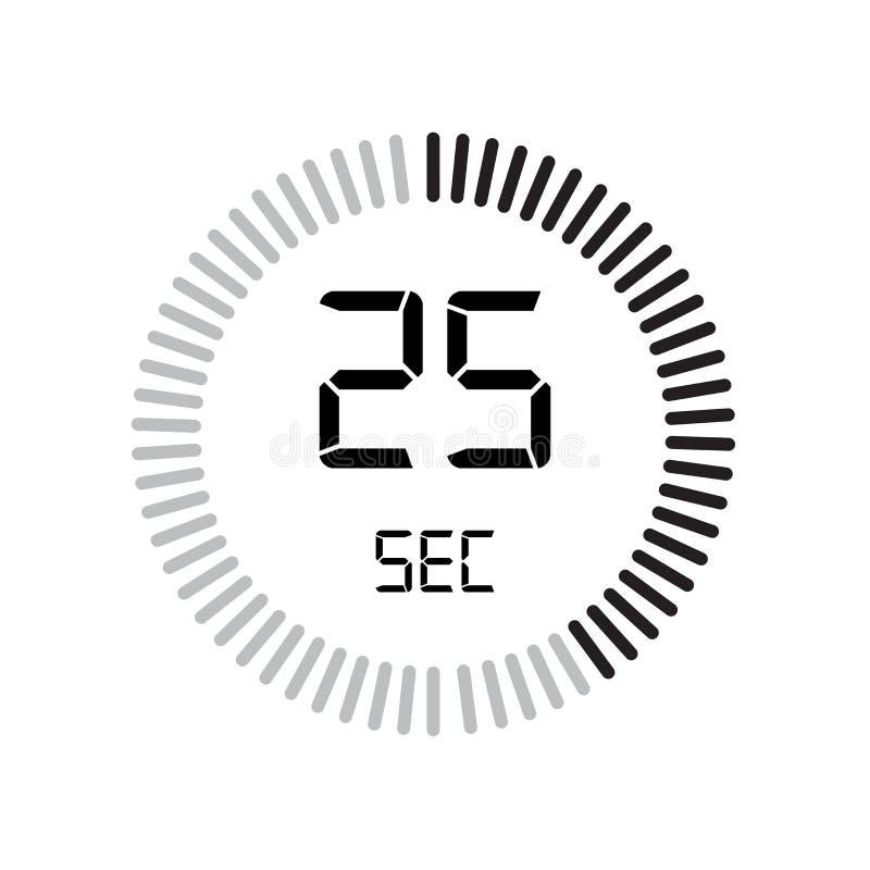 Den 25 sekunder symbolen, digital tidmätare klocka och klocka, tidmätare, coun royaltyfri illustrationer