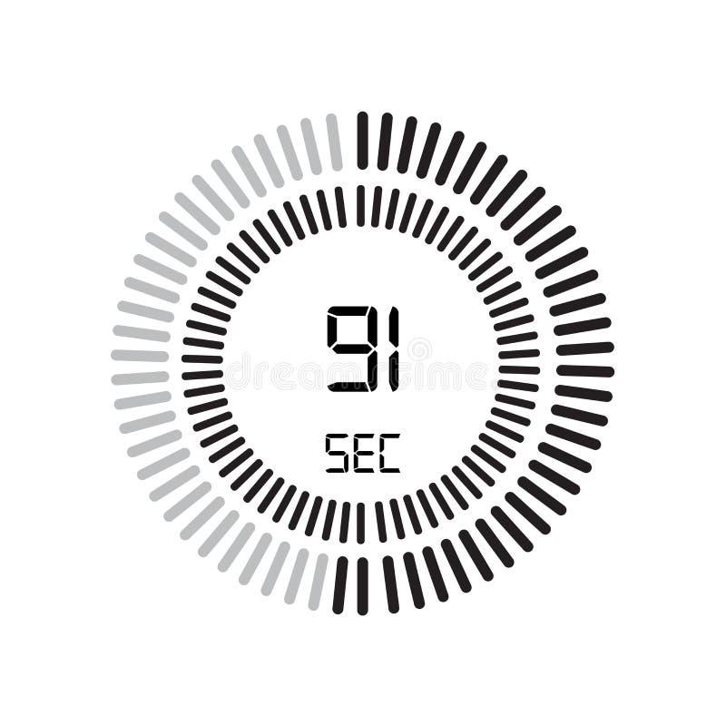 Den 91 sekunder symbolen, digital tidmätare klocka och klocka, tidmätare, coun royaltyfri illustrationer