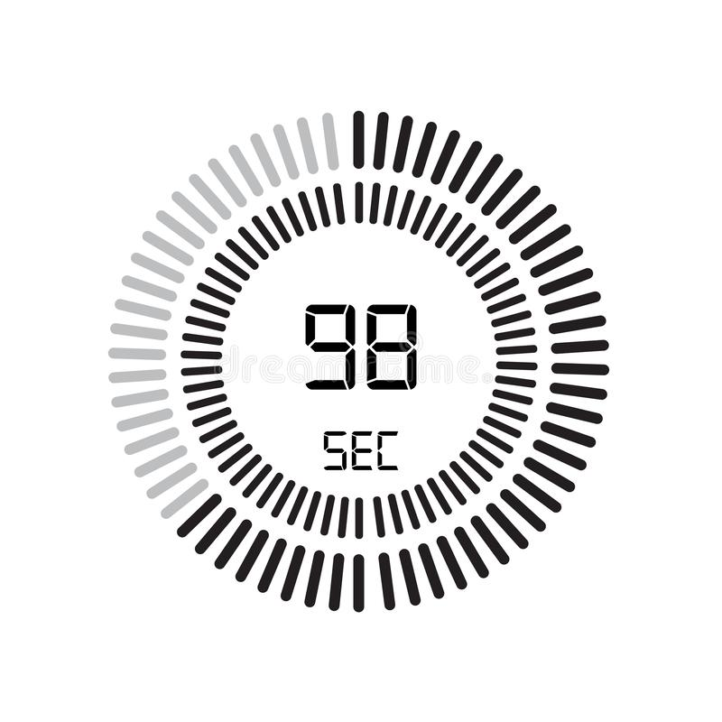 Den 98 sekunder symbolen, digital tidmätare klocka och klocka, tidmätare, coun stock illustrationer