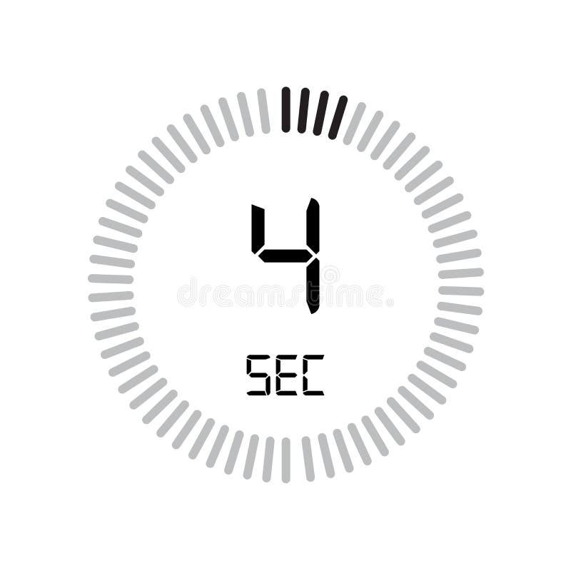 Den 4 sekunder symbolen, digital tidmätare klocka och klocka, tidmätare, räkning stock illustrationer