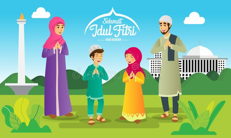 Den Selamat harirayaen Idul Fitri ?r ett annat spr?k av lycklig eid mubarak i indones Muslim familj för tecknad film som firar Ei royaltyfri illustrationer
