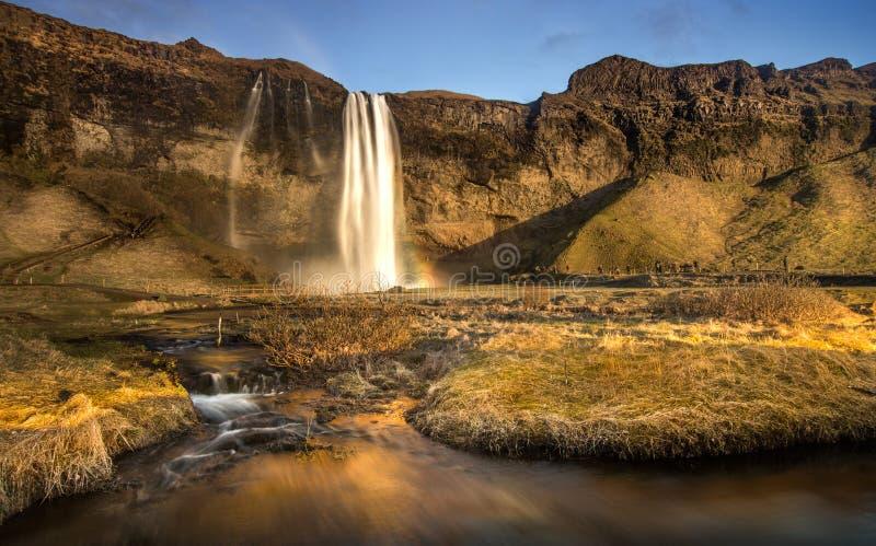 Den Seljalandfoss vattennedgången och en liten vattennedgångframsida till solnedgången med det bruna gräset i Island royaltyfri foto