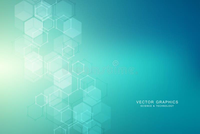 Den sexhörniga molekylära strukturen för läkarundersökning, vetenskap och digital teknologi planlägger Abstrakt geometrisk vektor royaltyfri illustrationer